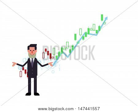 Business Man  And Stock Market Chart Vector Illustration