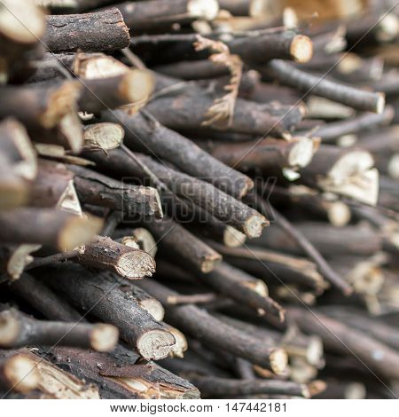 Natural wooden background. Extreme closeup of chopped firewood. Firewood stacked and prepared for winter.