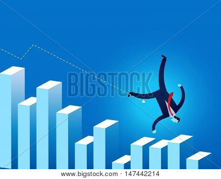 Businessman  Falling On Financial Graph With Arrow Trending Downwards Vector Illustration