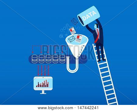 Business Man Collect Data Into Server Vector Illustration