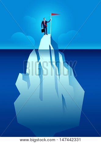 Business Man With Flag On The Iceberg Vector Illustration