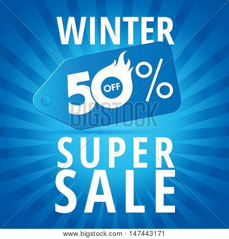 Winter super sale. Winter super sale background with blue realistic tag 50% off vector banner