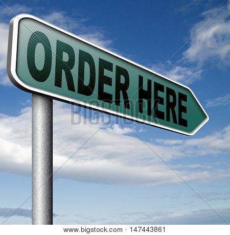 Order here and now at online internet webshop 3D illustration