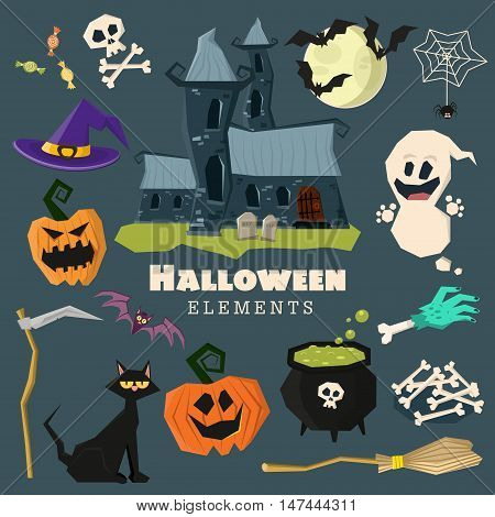 Happy Halloween scary elements collection. Vector holiday set of spooky cartoon illustrations. Pumpkin bat ghost witch hat cat spider skull bone boiler castle moon broom. Trick or treat