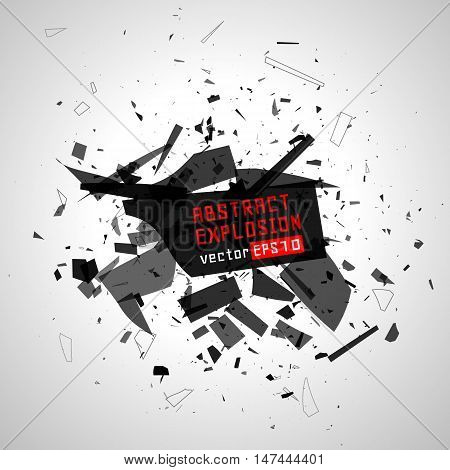Explosion cloud of black pieces. Abstract black explosion. Geometric background. Vector illustration