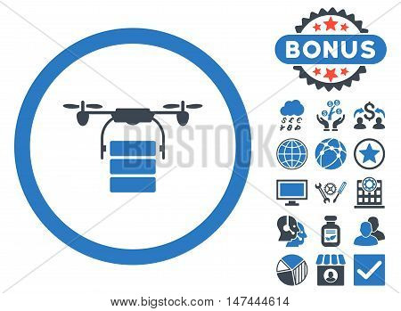 Cargo Drone icon with bonus pictures. Vector illustration style is flat iconic bicolor symbols, smooth blue colors, white background.