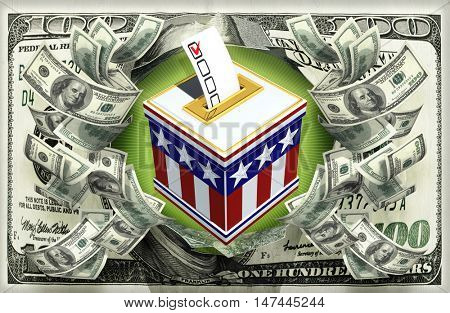 Voting Box With Money 3D Illustration