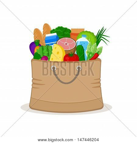 Paper bag full of food isolated on white background. Concept shopping in a market. Vegetables, meat, cheese, milk, groceries. Grocery bag. Healthy food. Vector illustration