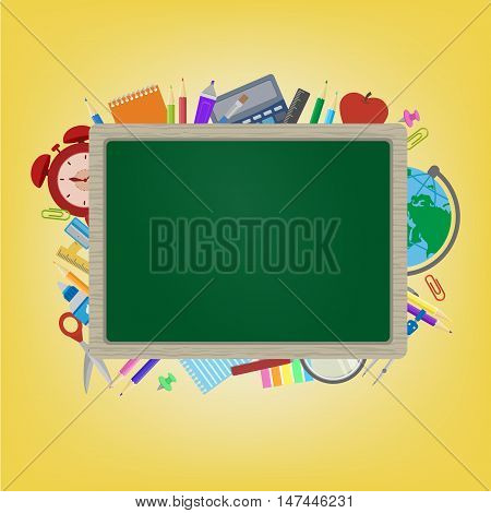 School board with School supplies. Clock, Globe, scissors, calculator, pens, magnifying glass, notebook, clips, dividers behind a board. Back to School. Space for your text. Education Concept. Vector