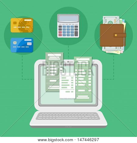 The concept of payment accounts tax bill via a computer or a laptop. Online payment. Laptop with checks on the screen. Bank card transfer. Credit cards, purse with money, calculator. Vector.