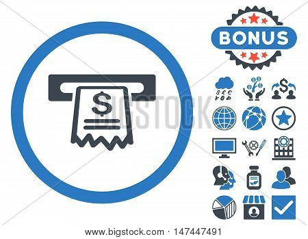 Cashier Receipt icon with bonus pictures. Vector illustration style is flat iconic bicolor symbols, smooth blue colors, white background.