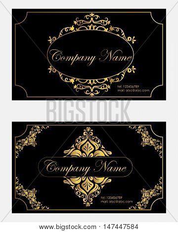 business card vector illustration. Gold vintage pattern. Black background