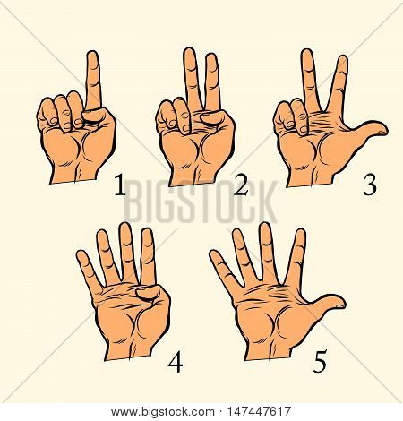 Set of hand gestures count 1 2 3 4 and 5, pop art retro vector illustration. One two three four five