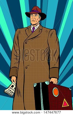 Retro man in cloak with suitcase, pop art retro vector illustration. Autumn clothing