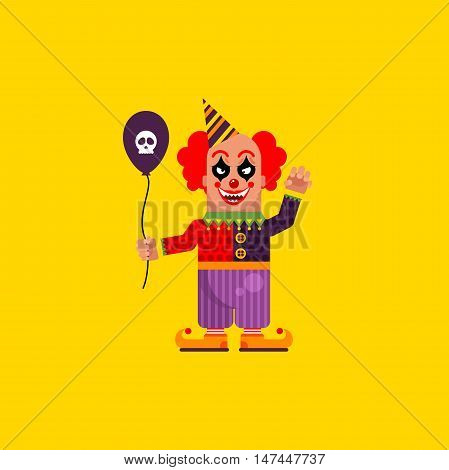 Stock vector illustration a scary clown character for halloween in a flat style