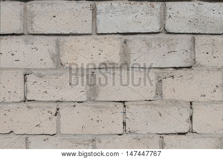 of aggregate concrete masonry units. Gray wall.