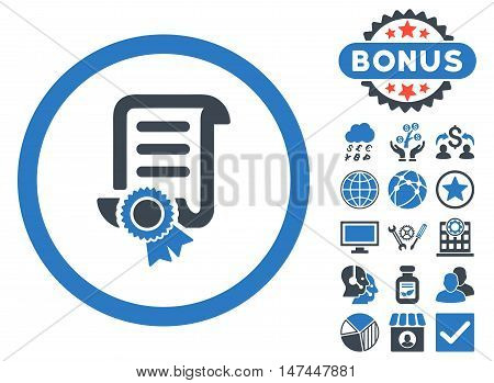 Certified Scroll Document icon with bonus pictures. Vector illustration style is flat iconic bicolor symbols, smooth blue colors, white background.