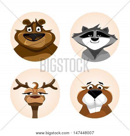 Avatars wild animals. Raccoon, bear, deer, beaver. Flat graphics. Vector
