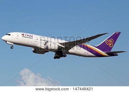 BRISBANE, AUSTRALIA - June 30: A Thai Airways Boeing 787-8 Dreamliner departs Brisbane Airport, Australia, on Thursday 30th June, 2016.