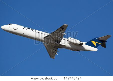 BRISBANE, AUSTRALIA - June 30: An Alliance Fokker 70 aircraft departs Brisbane, Australia, on Thursday 30th June, 2016