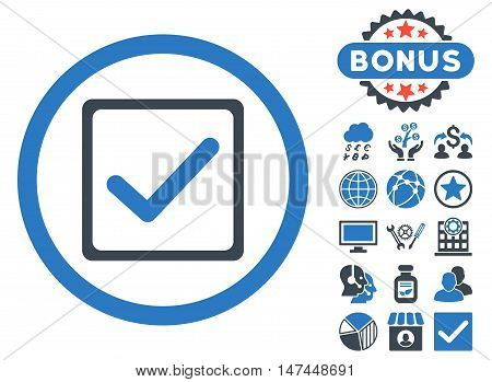 Checkbox icon with bonus design elements. Vector illustration style is flat iconic bicolor symbols, smooth blue colors, white background.