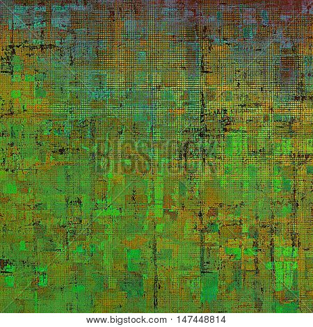 Colorful vintage background, grunge texture with scratches, stains and different color patterns: yellow (beige); brown; green; blue; red (orange); cyan