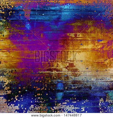 Vintage torn texture or stylish grunge background with ancient design elements and different color patterns: yellow (beige); blue; red (orange); purple (violet); cyan; pink