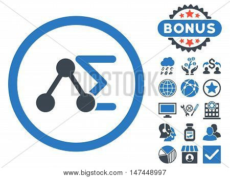 Chemical Formula icon with bonus elements. Vector illustration style is flat iconic bicolor symbols, smooth blue colors, white background.