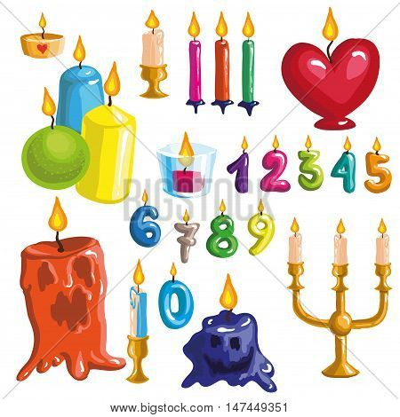 Set of original colorful candles. Vector illustration for celebration card and invitation design. Candles for birthday, anniversary and holidays. Isolated on white background.
