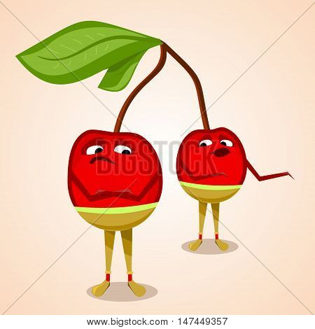 Two cherries in trousers quarrel. Flat illustration. Vector