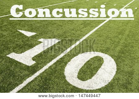 American football with concussion text