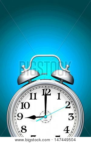 Alarm clock isolated over blue background