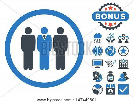 Clerk Staff icon with bonus symbols. Vector illustration style is flat iconic bicolor symbols, smooth blue colors, white background.