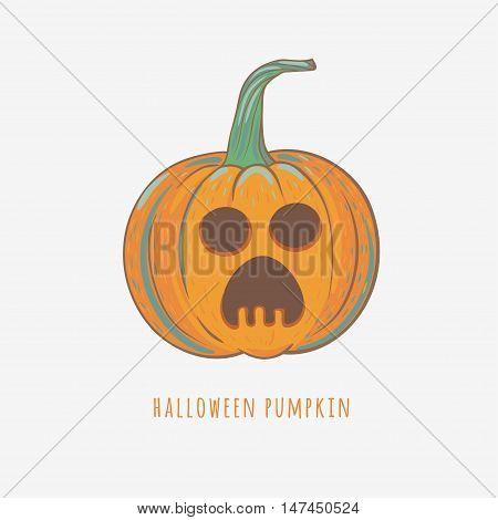 scared halloween pumpkin, vector illustration with carved pumpkin for Halloween decorations, vector pumpkin isolated on white