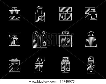 Collection of bottles and vials with perfumes. Mens fragrances, scented water, lotion after shaving. White line art design. Flat vector icons set on black.