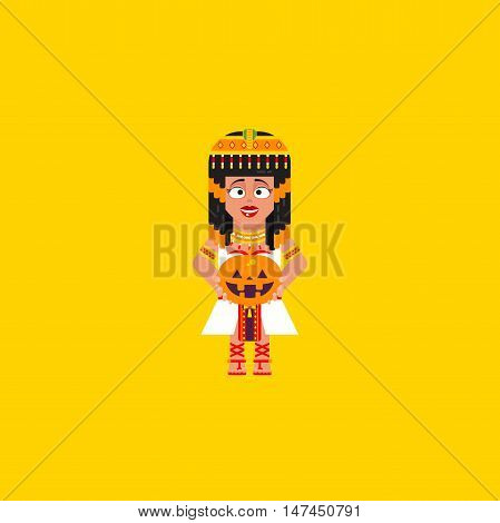 Stock vector illustration Egyptian queen with a pumpkin, character for halloween in a flat style