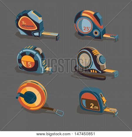 Measuring tape a set of different lengths and shapes on a gray background. Building measuring tool. Home Repair and creativity. Stock vector set.