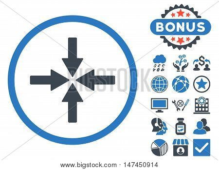Collide Arrows icon with bonus pictogram. Vector illustration style is flat iconic bicolor symbols, smooth blue colors, white background.