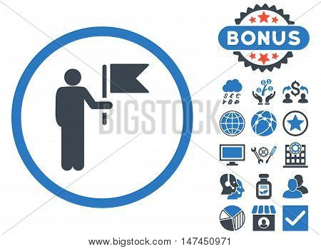 Commander icon with bonus elements. Vector illustration style is flat iconic bicolor symbols, smooth blue colors, white background.