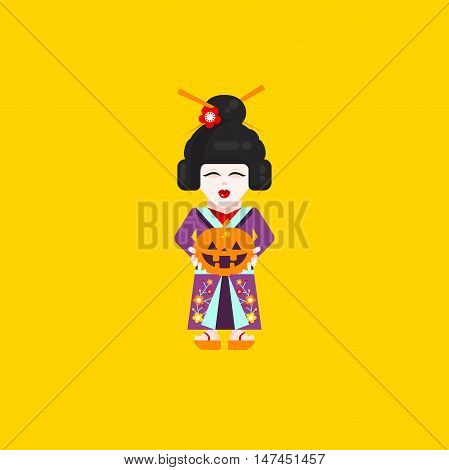 Stock vector illustration a Japanese geisha character for halloween in a flat style