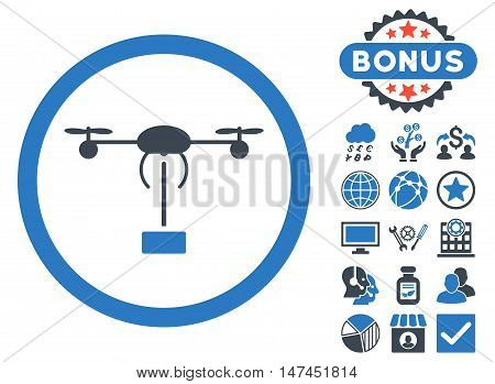 Copter Shipment icon with bonus symbols. Vector illustration style is flat iconic bicolor symbols, smooth blue colors, white background.