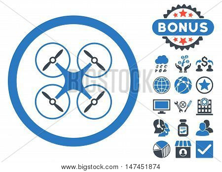 Copter icon with bonus images. Vector illustration style is flat iconic bicolor symbols, smooth blue colors, white background.