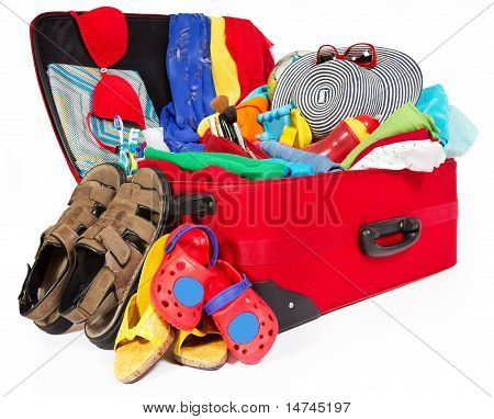 Family Travel Red Suitcase Packed For Vacation