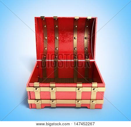 Open Red Chest Empty 3D Render On Blue Gradient Background
