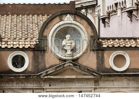 ROME, ITALY - JUNE 12, 2015: The architectural detail from the Honourable Courtyard in the Castle of Angel in Rome