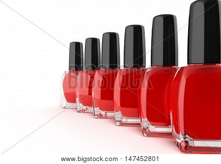 Red Nail Polish Bottels 3D Render On White Background