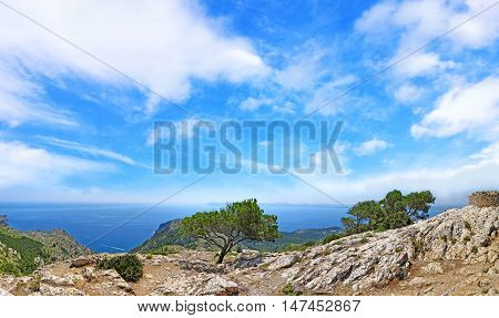 Mountain Panorama With Ocean View And Blue Sky