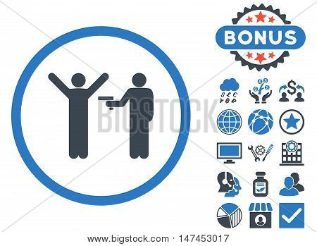 Crime icon with bonus pictogram. Vector illustration style is flat iconic bicolor symbols, smooth blue colors, white background.