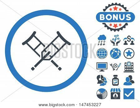 Crutches icon with bonus elements. Vector illustration style is flat iconic bicolor symbols, smooth blue colors, white background.