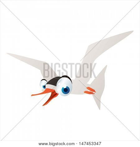 vector cartoon cute animal mascot. Funny colorful cool illustration of happy Tern